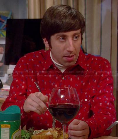 Howard's red printed shirt on The Big Bang Theory