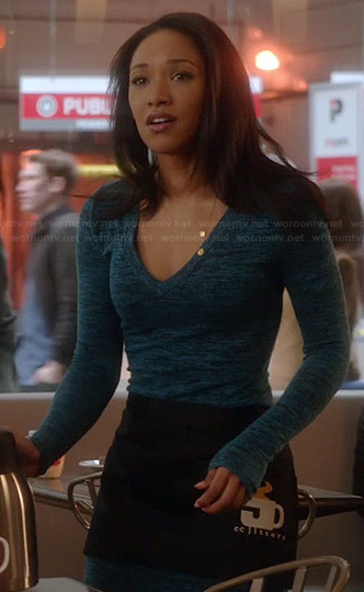 Iris's blue marled long sleeve dress on The Flash