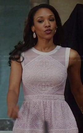 Iris's purple lace peplum dress on The Flash