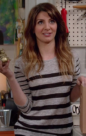 Jane's grey mixed stripe long sleeved tee on Mulaney