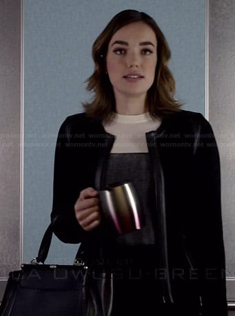 Jemma's black and white colorblock sweater and black handbag on Agents of SHIELD