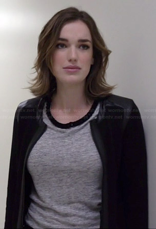 Jemma's grey top with black chain neckline on Agents of SHIELD
