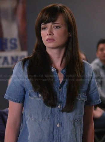 Jenna's denim short sleeved shirt on Awkward