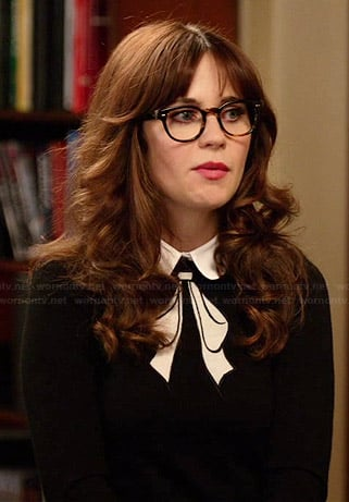 Jess's black bow printed sweater on New Girl