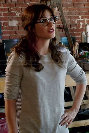 Jess's grey sweatshirt with striped back panel on New Girl