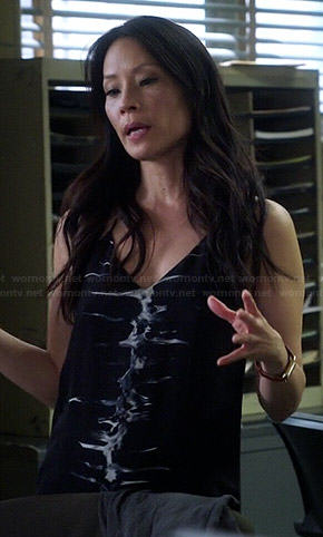 Joan's black tie dyed cami dress on Elementary
