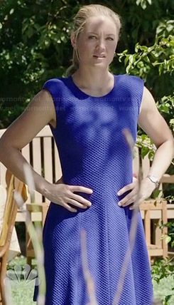 Julia's blue textured dress on Parenthood