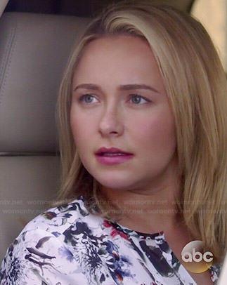 Juliette's white floral blouse on Nashville