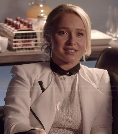 Juliette's white cheetah print top with contrast collar and white jacket on Nashville
