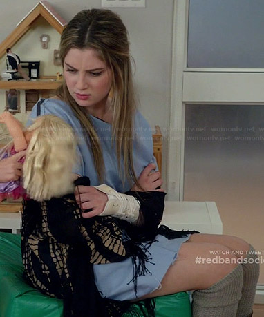 Kara's black tie dyed fringed kimono on Red Band Society