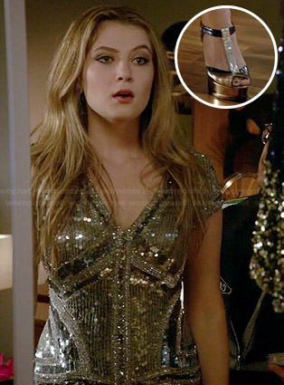 Kara's sequinned v-neck dress on Red Band Society