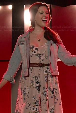 Amy's grey floral dress on Faking It