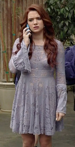 Karma's purple lace bell sleeve dress on Faking It