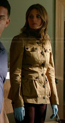Kate's beige jacket with black buttons on Castle