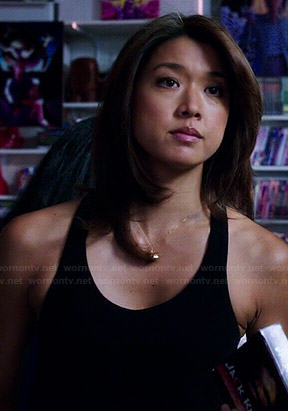Kono's black tank top with leather trim on Hawaii Five-O