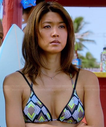 Kono's geometric printed bikini on Hawaii Five-O
