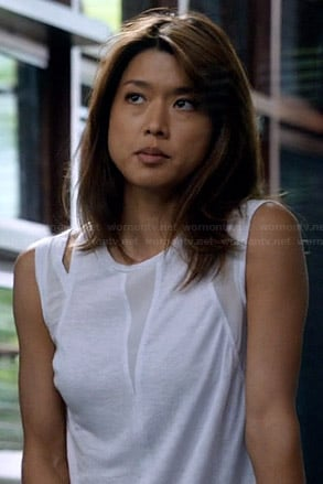 Kono's white mesh inset tank top on Hawaii Five-O