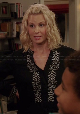 Kristina's black embroidered shirtdress on Parenthood