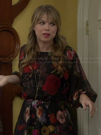 Kristin's black floral 3/4 sleeve dress on Last Man Standing