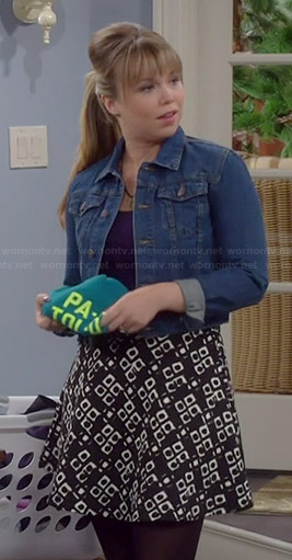Kristin's black and white printed skater skirt on Last Man Standing