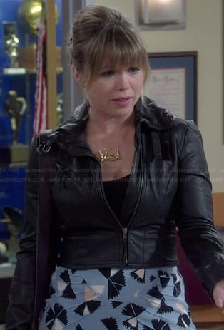 Kristin's blue printed skirt and leather jacket on Last Man Standing