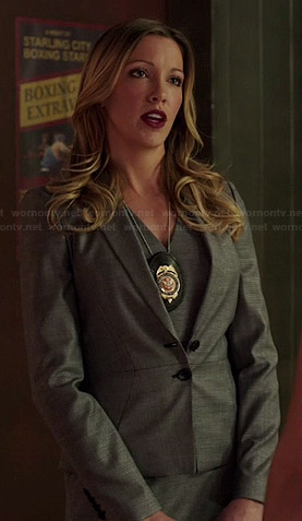 Laurel's grey peplum blazer on Arrow