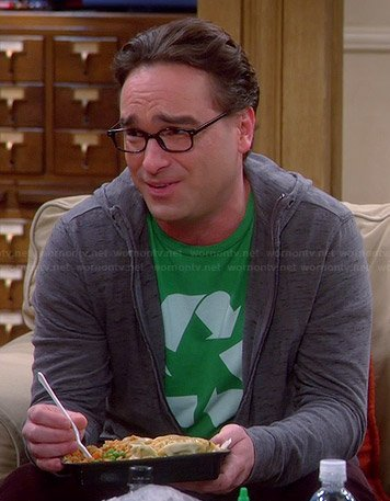 Leonard's green recycle tee on The Big Bang Theory