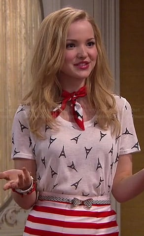 Liv's Eiffel Tower printed tee, red striped skirt and polka dot bow belt on Liv and Maddie