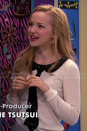 Liv's white sequin tie sweater on Liv and Maddie