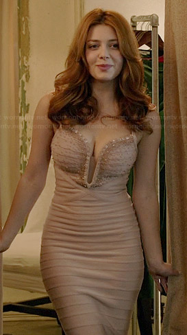 Louise's nude embellished bandage gown on Revenge