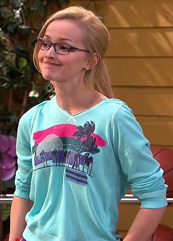 Maddie's blue palm tree print hoodie on Liv and Maddie
