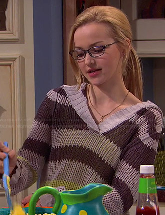 Maddie's grey and yellow striped hooded sweater on Liv and Maddie