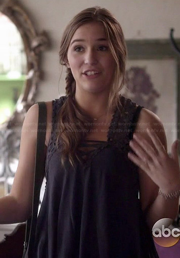 Maddie's grey crochet lace-up tank top on Nashville
