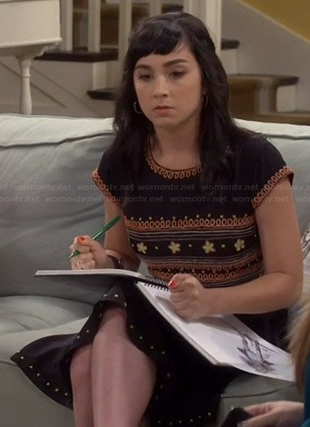 Mandy's black flower embroidered dress on Last Man Standing