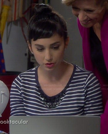 Mandy's navy striped and embellished tee on Last Man Standing
