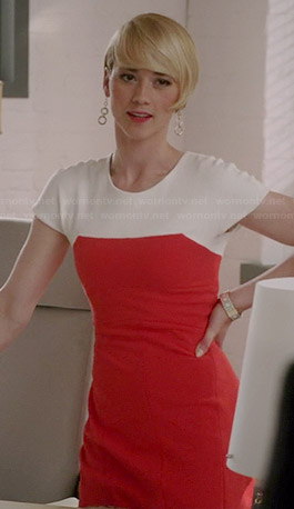 Margaux's orange colorblocked cap sleeve dress on Revenge