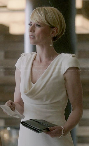 Margaux's white cowl neck dress on Revenge