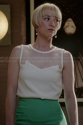 Margaux's white mesh top and green pencil skirt on Revenge