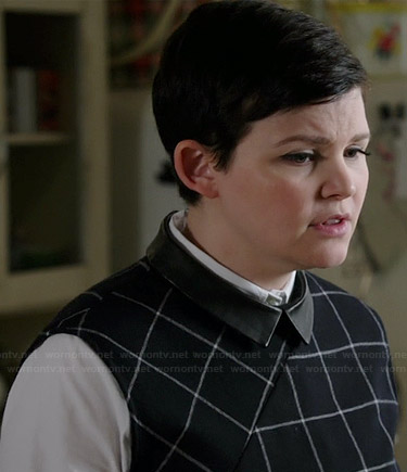 Mary's navy checked top with leather collar on Once Upon a Time