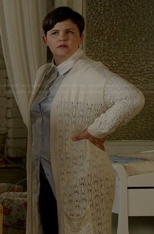 Mary's blue shirt with white collar and long cream pointelle cardigan on Once Upon a Time