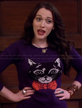 Max's cat with bow tie sweater on 2 Broke Girls