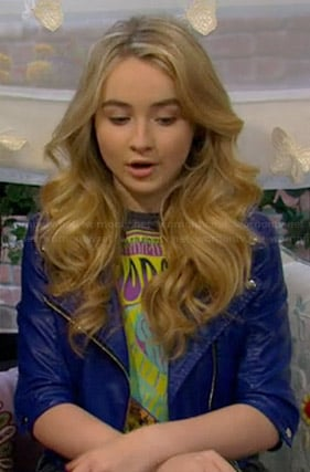 Maya's blue cropped leather moto jacket on Girl Meets World