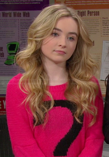 Maya's pink question mark sweater on Girl Meets World
