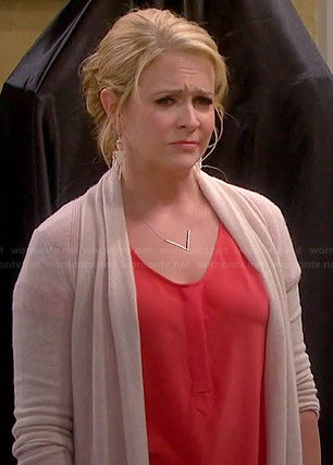 Melissa's orange blouse and beige cardigan on Melissa and Joey