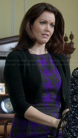 Mellie's purple houndstooth dress on Scandal