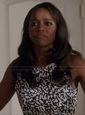 Michaela's abstract printed fit and flare dress on How to Get Away with Murder