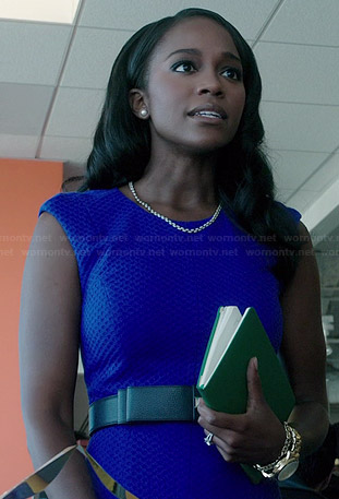 Michaela's blue textured dress on How to Get Away with Murder