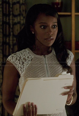 Michaela's cream textured zip-front dress with white lace shoulders on How to Get Away with Murder