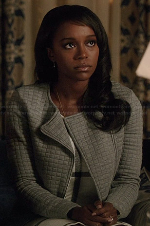 Michaela's grey quilted jacket on How to Get Away with Murder