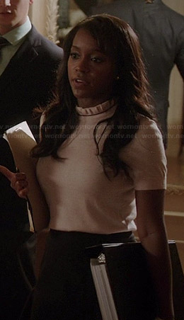 Michaela's light pink ruffled neck sweater on How to Get Away with Murder